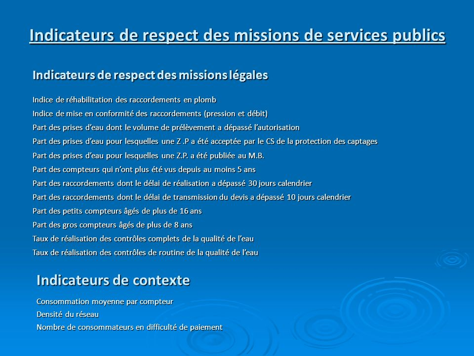 Indicateurs de respect des missions de services publics Indicateurs de respect des missions légales Indicateurs de contexte Indice de réhabilitation d