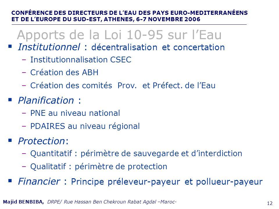CONFÉRENCE DES DIRECTEURS DE LEAU DES PAYS EURO-MEDITERRANÉENS ET DE LEUROPE DU SUD-EST, ATHENES, 6-7 NOVEMBRE 2006,, de 12 Institutionnel : décentral