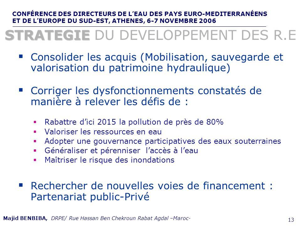 CONFÉRENCE DES DIRECTEURS DE LEAU DES PAYS EURO-MEDITERRANÉENS ET DE LEUROPE DU SUD-EST, ATHENES, 6-7 NOVEMBRE 2006,, de 13 Consolider les acquis (Mob