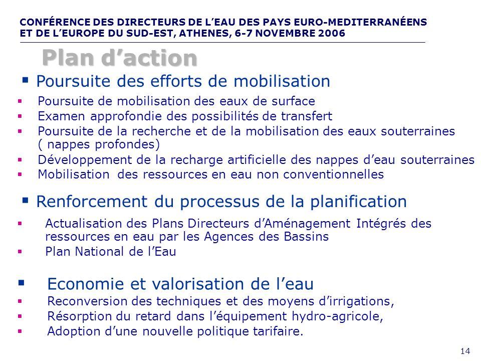 CONFÉRENCE DES DIRECTEURS DE LEAU DES PAYS EURO-MEDITERRANÉENS ET DE LEUROPE DU SUD-EST, ATHENES, 6-7 NOVEMBRE 2006,, de 14 Poursuite des efforts de m