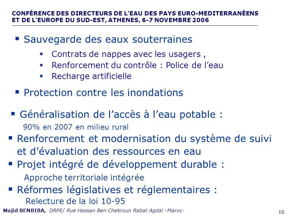 CONFÉRENCE DES DIRECTEURS DE LEAU DES PAYS EURO-MEDITERRANÉENS ET DE LEUROPE DU SUD-EST, ATHENES, 6-7 NOVEMBRE 2006,, de 16 Sauvegarde des eaux souter