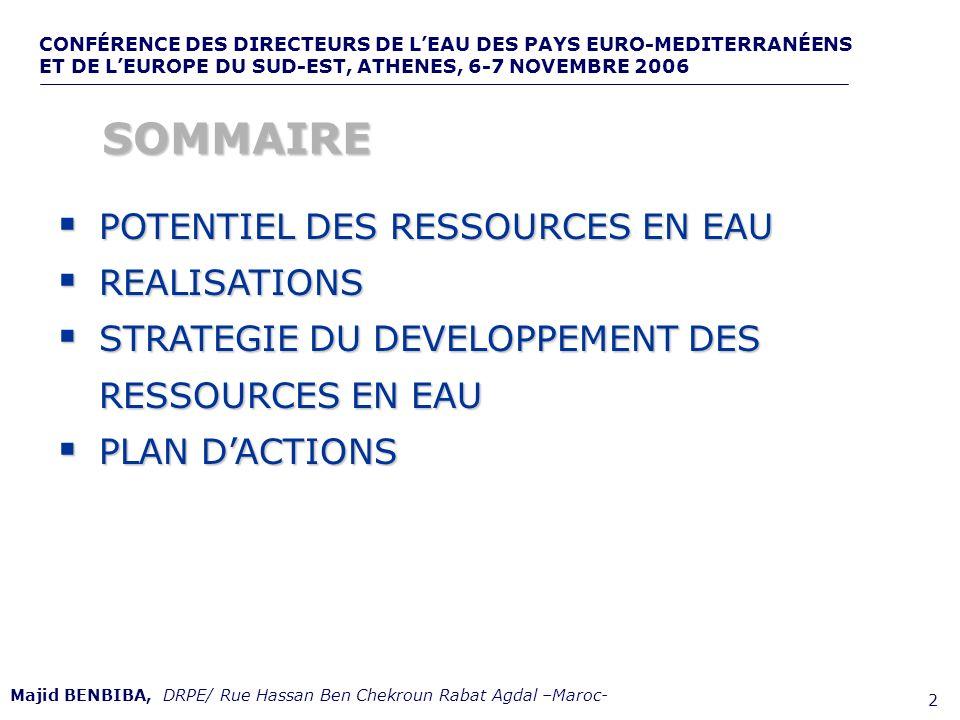 CONFÉRENCE DES DIRECTEURS DE LEAU DES PAYS EURO-MEDITERRANÉENS ET DE LEUROPE DU SUD-EST, ATHENES, 6-7 NOVEMBRE 2006,, de 2 POTENTIEL DES RESSOURCES EN