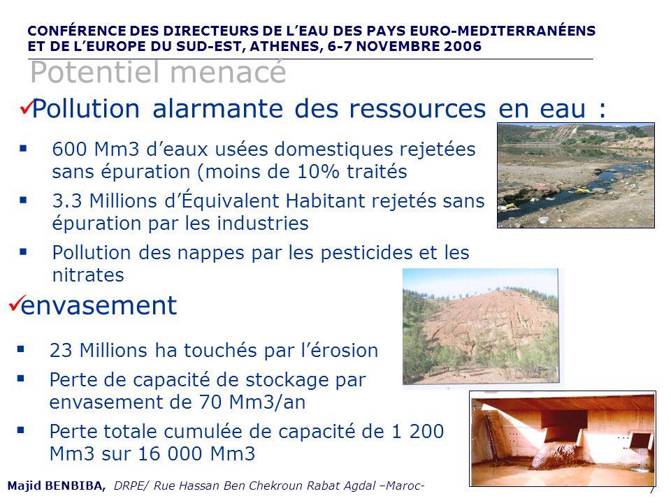 CONFÉRENCE DES DIRECTEURS DE LEAU DES PAYS EURO-MEDITERRANÉENS ET DE LEUROPE DU SUD-EST, ATHENES, 6-7 NOVEMBRE 2006,, de 8 Majid BENBIBA, DRPE/ Rue Hassan Ben Chekroun Rabat Agdal –Maroc- Changement climatique : Sécheresses fréquentes Depuis 1950, plus de quarante périodes de sécheresses ont été enregistrées Dix périodes très sèches généralisées à lensemble du pays (déficits pluviométriques dépasse parfois 60% ) Bge I.
