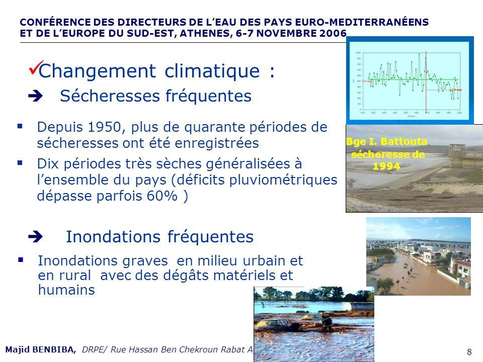 CONFÉRENCE DES DIRECTEURS DE LEAU DES PAYS EURO-MEDITERRANÉENS ET DE LEUROPE DU SUD-EST, ATHENES, 6-7 NOVEMBRE 2006,, de 9 Majid BENBIBA, DRPE/ Rue Hassan Ben Chekroun Rabat Agdal –Maroc- 115 grands barrages dune capacité totale de près de 16 Milliards de m3 13 systèmes de transfert deau : 1100 km et 210 m3/s Important réseau de forages et de captages Infrastructure de mobilisation REALISATIONS