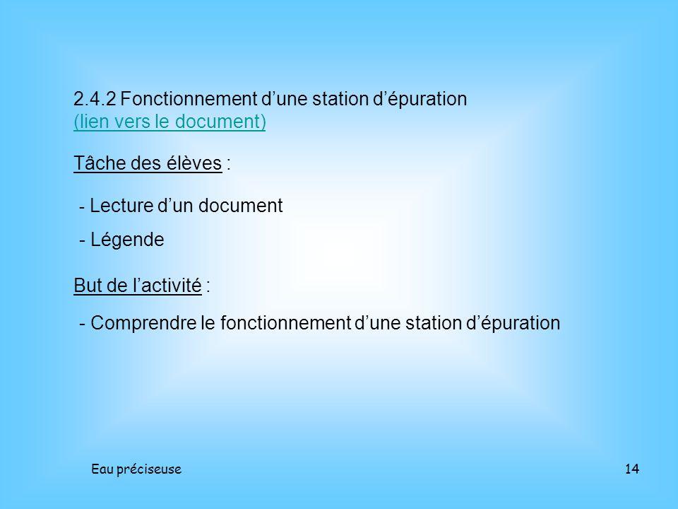 Eau préciseuse14 2.4.2 Fonctionnement dune station dépuration (lien vers le document) (lien vers le document) Tâche des élèves : - Lecture dun documen