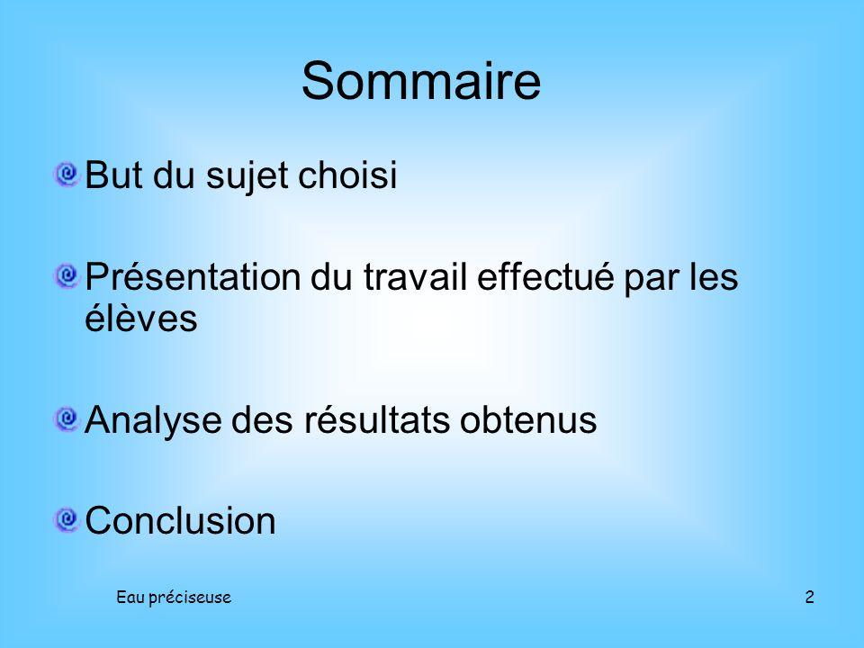 Eau préciseuse2 But du sujet choisi Présentation du travail effectué par les élèves Analyse des résultats obtenus Conclusion Sommaire