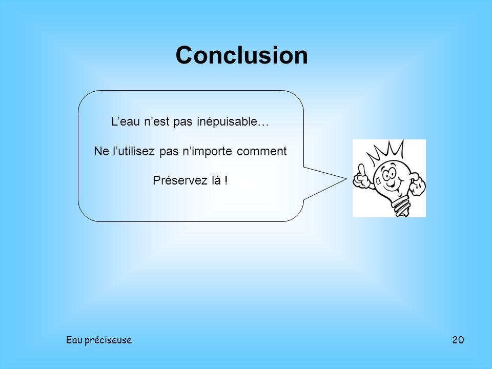 Eau préciseuse20 Conclusion Leau nest pas inépuisable… Ne lutilisez pas nimporte comment Préservez là !