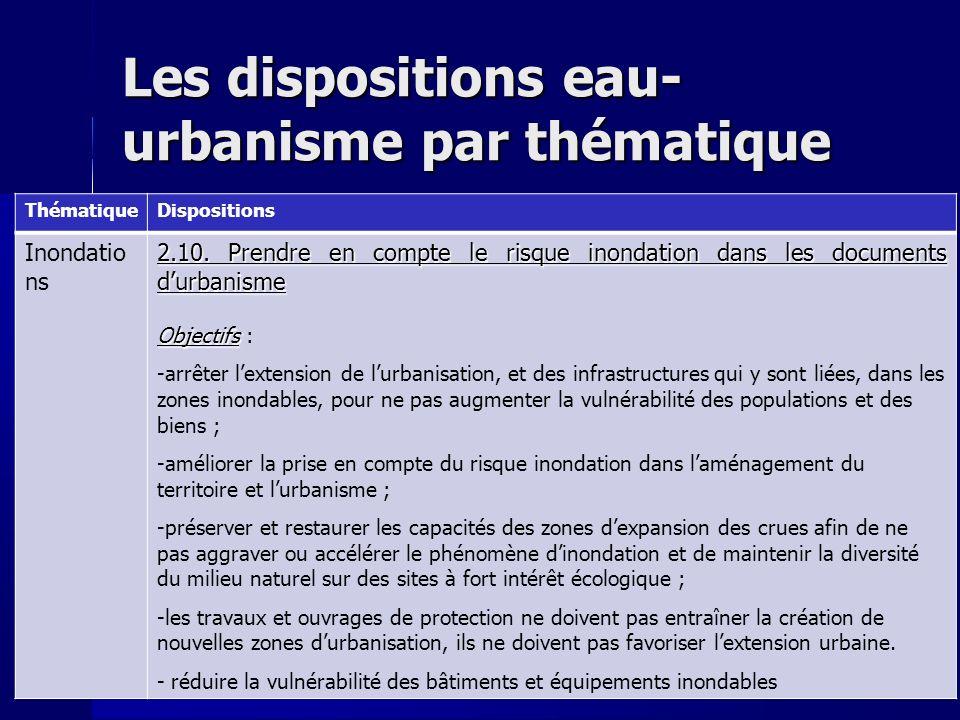 Les dispositions eau- urbanisme par thématique ThématiqueDispositions Inondatio ns 2.10.