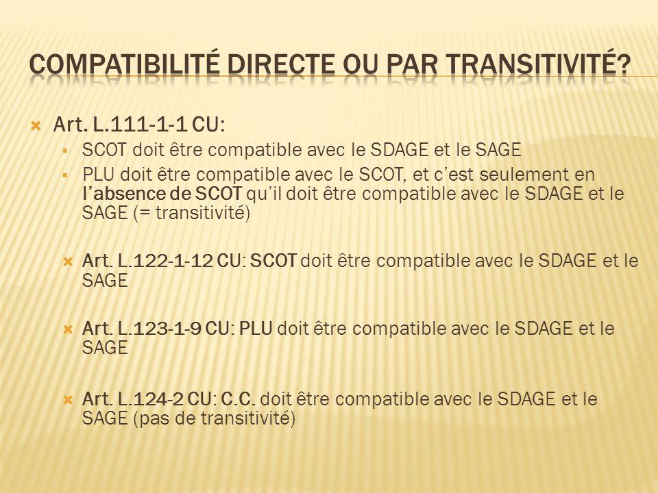 Art. L.111-1-1 CU: SCOT doit être compatible avec le SDAGE et le SAGE PLU doit être compatible avec le SCOT, et cest seulement en labsence de SCOT qui