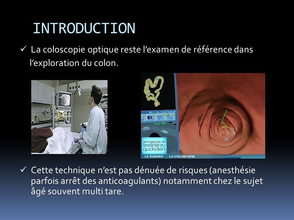 INTRODUCTION La coloscopie optique reste lexamen de référence dans lexploration du colon.