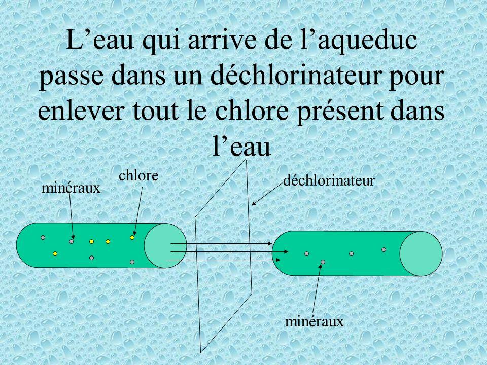 Leau qui arrive de laqueduc passe dans un déchlorinateur pour enlever tout le chlore présent dans leau chlore minéraux déchlorinateur minéraux