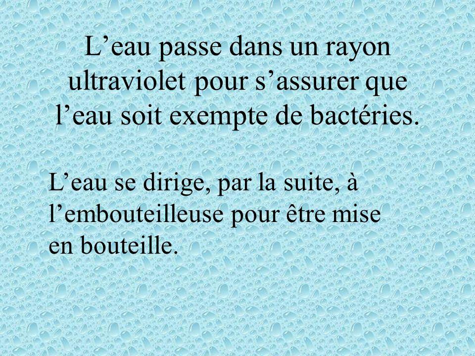 Leau passe dans un rayon ultraviolet pour sassurer que leau soit exempte de bactéries.