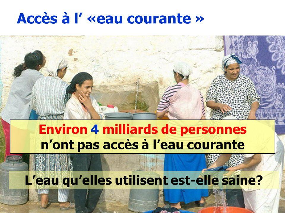 11 Environ 4 milliards de personnes nont pas accès à leau courante Photo Suez Accès à l «eau courante » Leau quelles utilisent est-elle saine?
