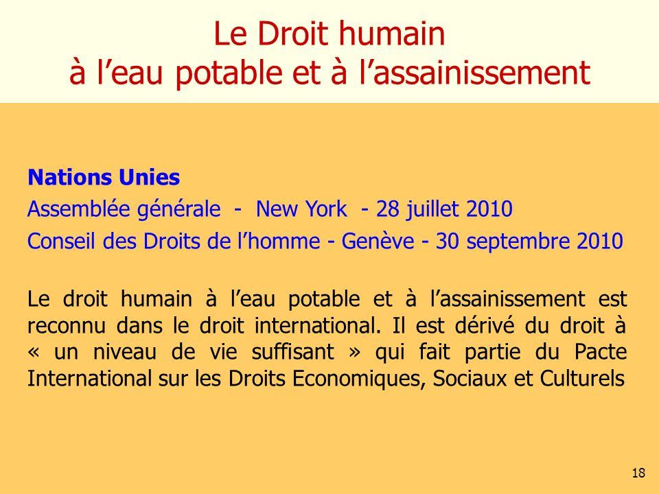 Le Droit humain à leau potable et à lassainissement Nations Unies Assemblée générale - New York - 28 juillet 2010 Conseil des Droits de lhomme - Genèv