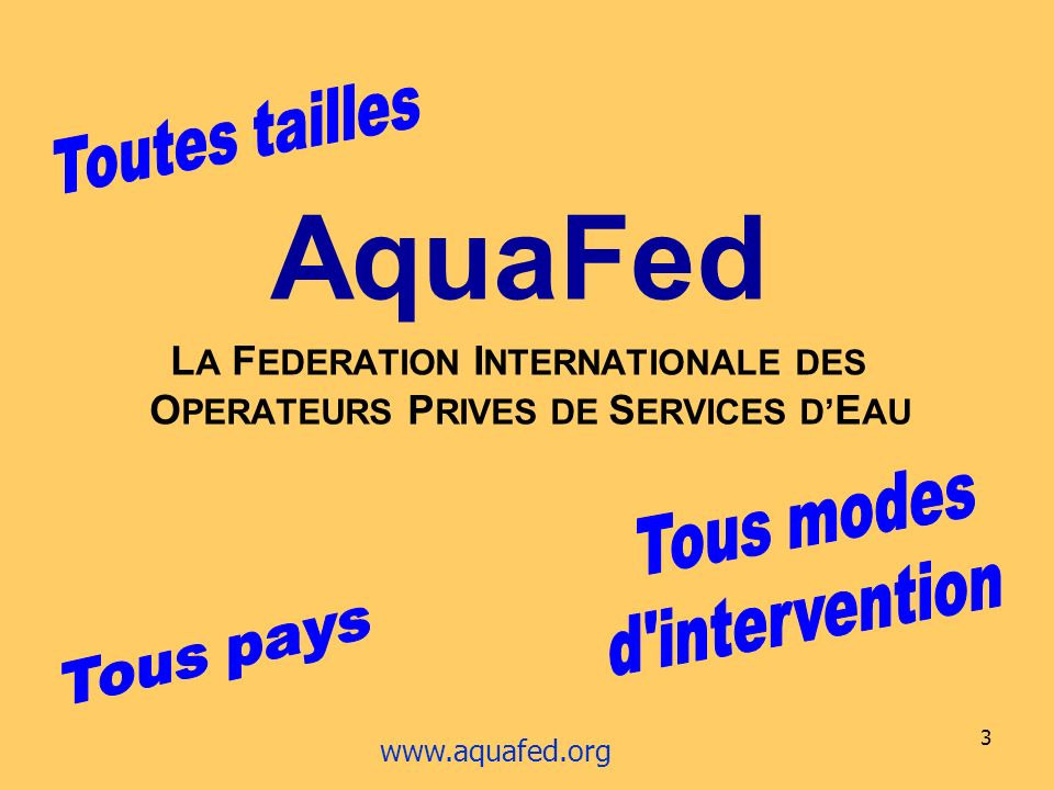 3 AquaFed L A F EDERATION I NTERNATIONALE DES O PERATEURS P RIVES DE S ERVICES D E AU www.aquafed.org