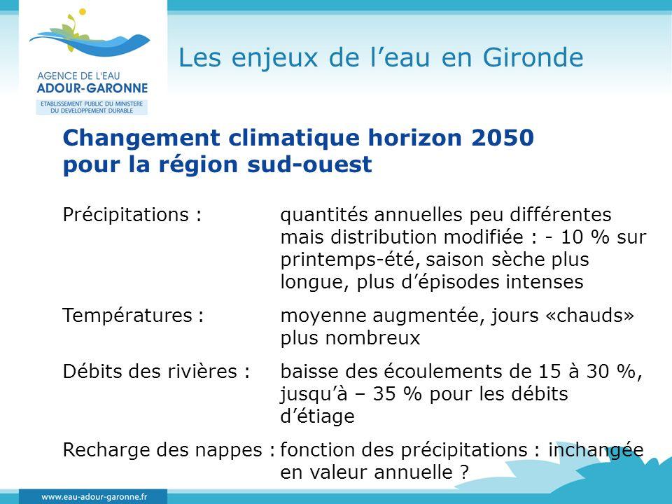Les enjeux de leau en Gironde Changement climatique horizon 2050 pour la région sud-ouest Précipitations :quantités annuelles peu différentes mais dis