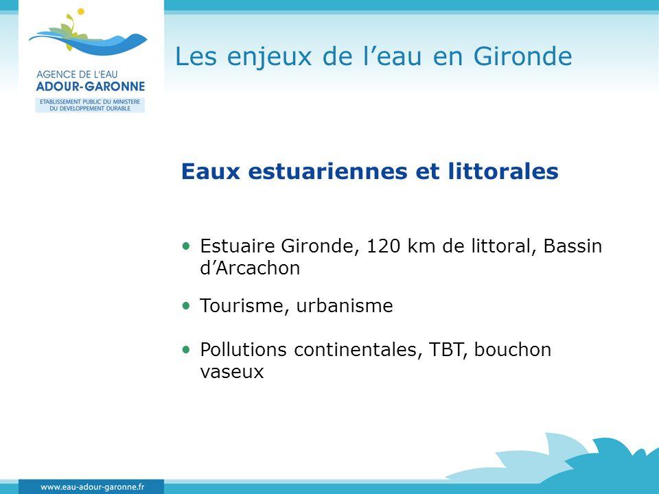 Les enjeux de leau en Gironde Eaux estuariennes et littorales Estuaire Gironde, 120 km de littoral, Bassin dArcachon Tourisme, urbanisme Pollutions co