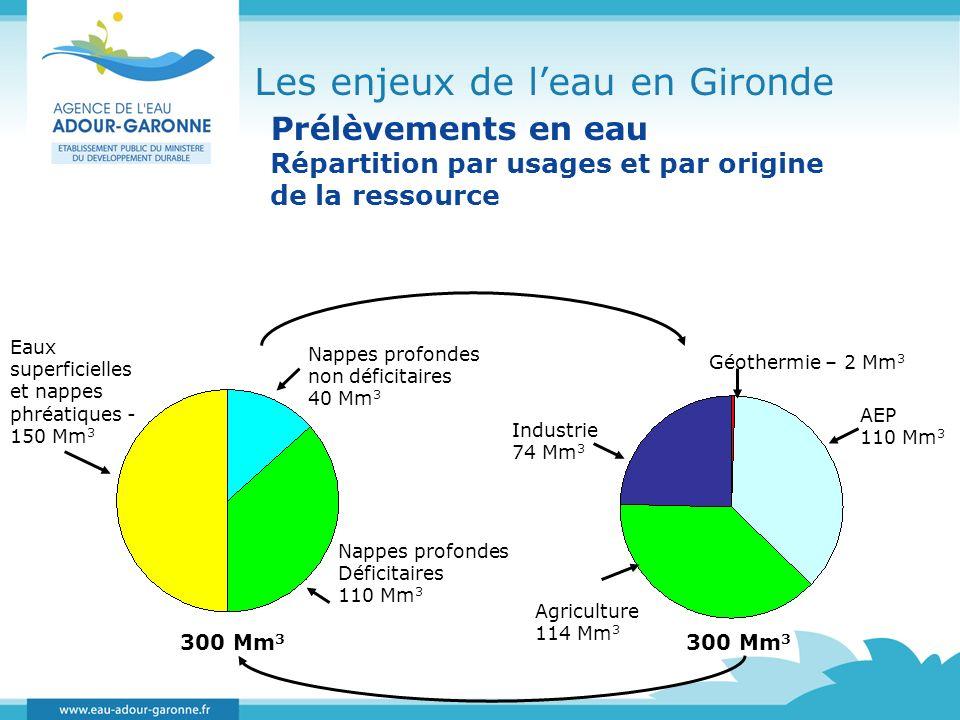 Les enjeux de leau en Gironde Prélèvements en eau Répartition par usages et par origine de la ressource Nappes profondes non déficitaires 40 Mm 3 Napp