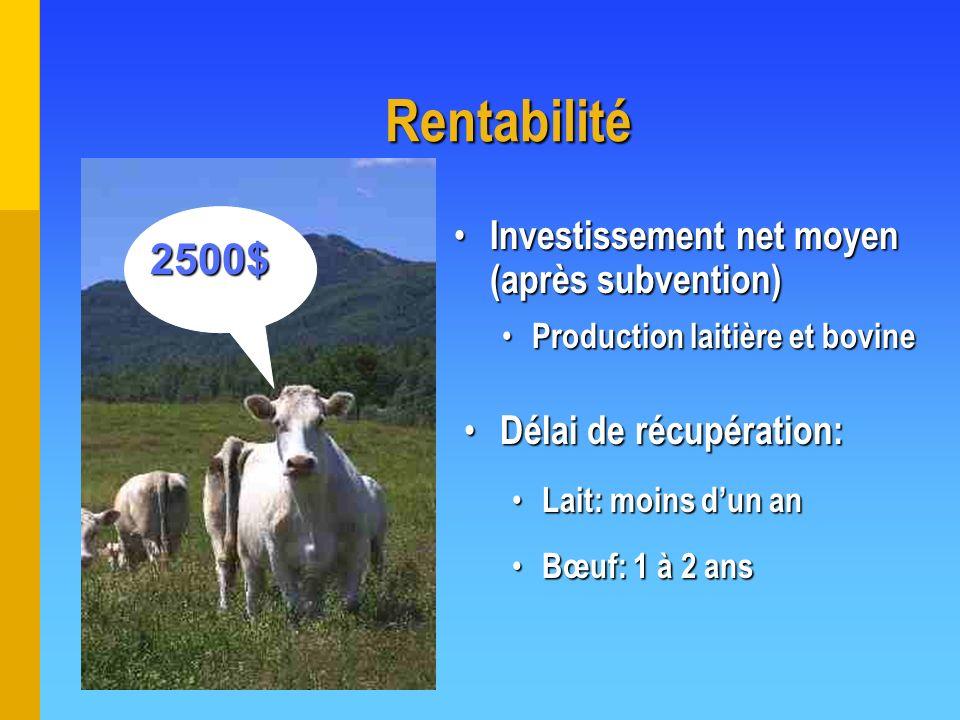 Rentabilité Investissement net moyen (après subvention) Investissement net moyen (après subvention) Production laitière et bovine Production laitière