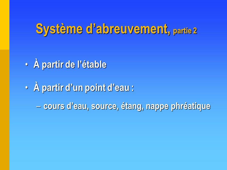 Système dabreuvement, partie 2 À partir de létable À partir de létable À partir dun point deau : À partir dun point deau : – cours deau, source, étang
