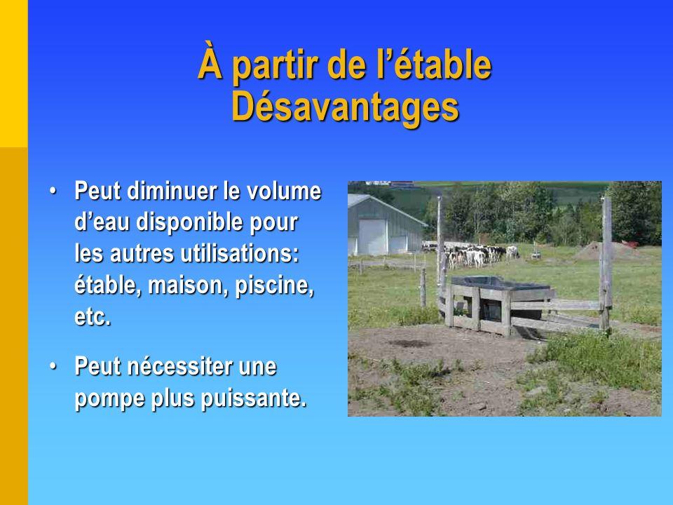 À partir de létable Désavantages Peut diminuer le volume deau disponible pour les autres utilisations: étable, maison, piscine, etc. Peut diminuer le