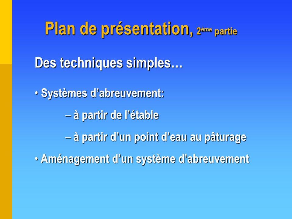 Plan de présentation, 2 ème partie Plan de présentation, 2 ème partie Des techniques simples… Systèmes dabreuvement: Systèmes dabreuvement: – à partir