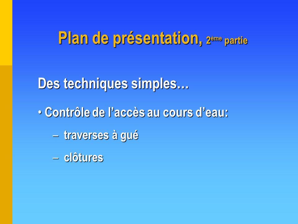 Plan de présentation, 2 ème partie Contrôle de laccès au cours deau: Contrôle de laccès au cours deau: – traverses à gué – clôtures Des techniques sim