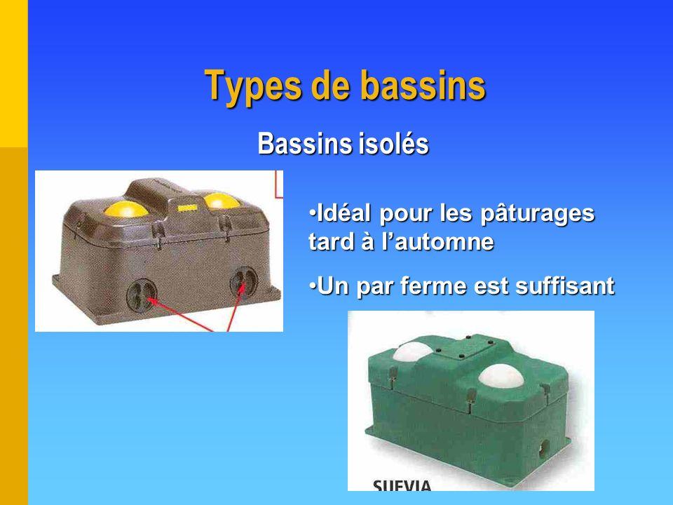 Types de bassins Bassins isolés Idéal pour les pâturages tard à lautomneIdéal pour les pâturages tard à lautomne Un par ferme est suffisantUn par ferm