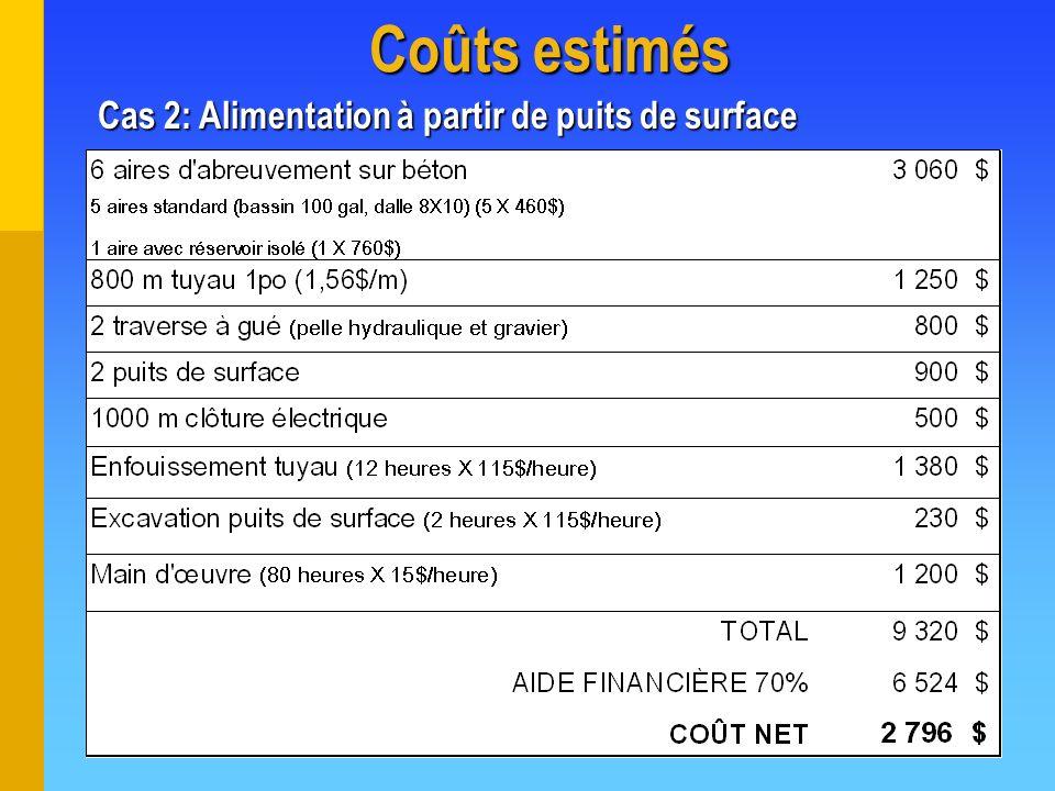 Coûts estimés Cas 2: Alimentation à partir de puits de surface