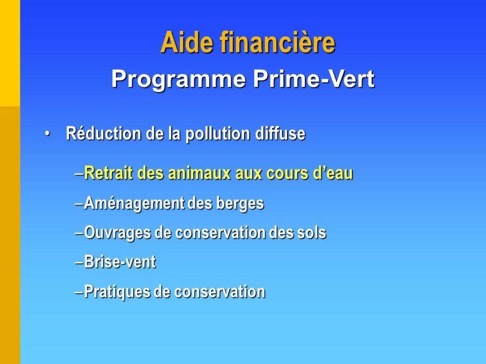 Aide financière Réduction de la pollution diffuse Réduction de la pollution diffuse – Retrait des animaux aux cours deau – Aménagement des berges – Ou