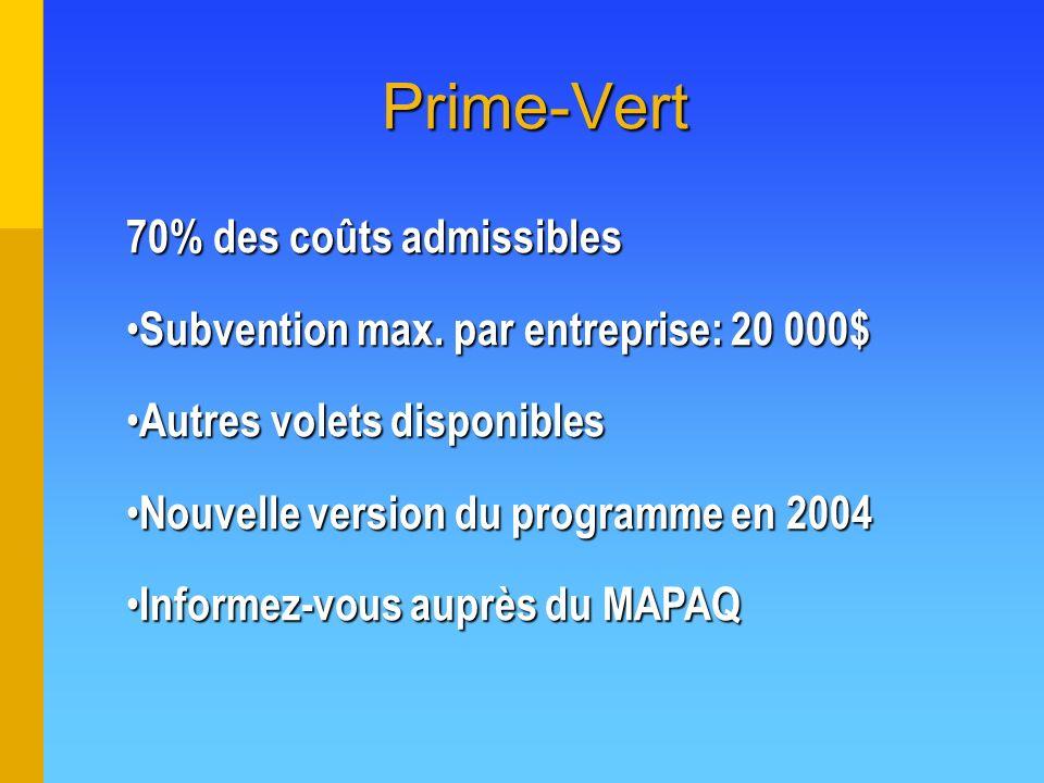 Prime-Vert 70% des coûts admissibles Subvention max. par entreprise: 20 000$ Subvention max. par entreprise: 20 000$ Autres volets disponibles Autres