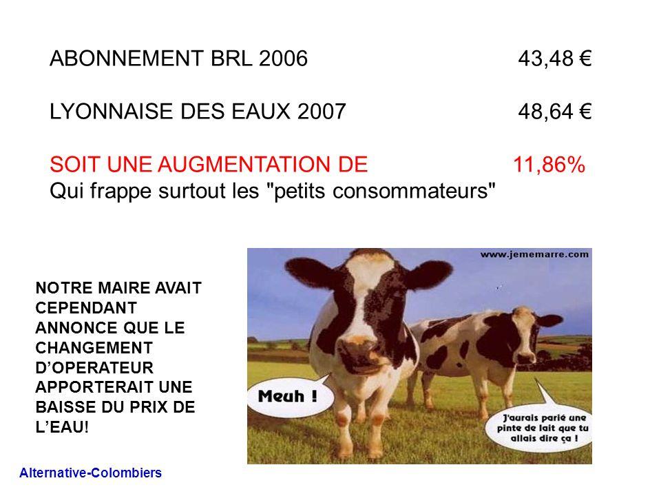 ABONNEMENT BRL 2006 43,48 LYONNAISE DES EAUX 2007 48,64 SOIT UNE AUGMENTATION DE 11,86% Qui frappe surtout les