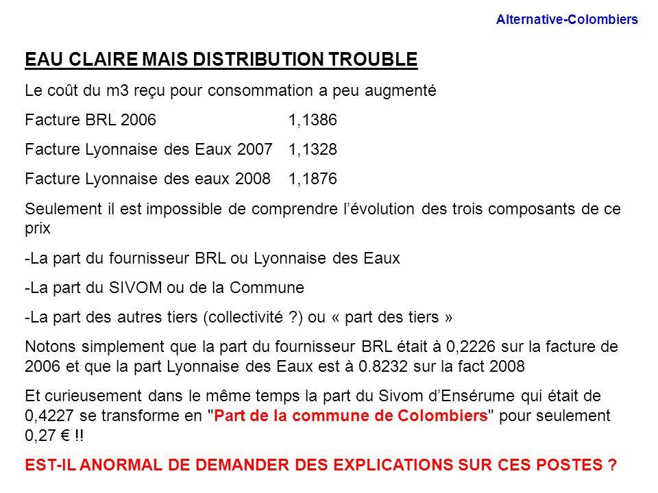 EAU CLAIRE MAIS DISTRIBUTION TROUBLE Le coût du m3 reçu pour consommation a peu augmenté Facture BRL 2006 1,1386 Facture Lyonnaise des Eaux 20071,1328