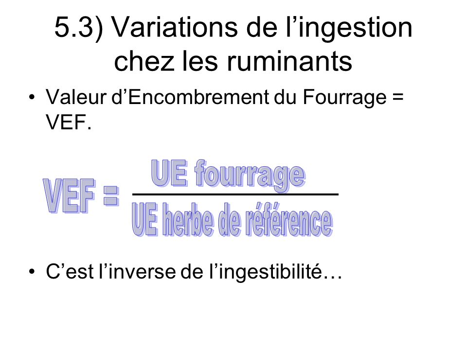 Valeur dEncombrement du Fourrage = VEF.