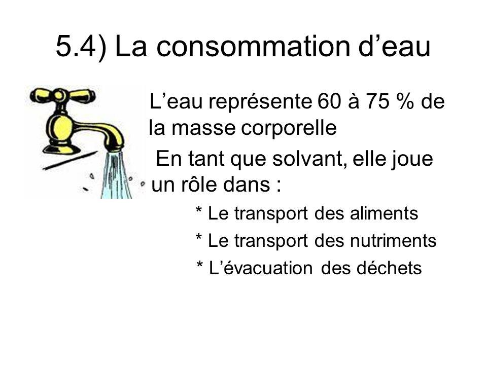 5.4) La consommation deau Leau représente 60 à 75 % de ……… la masse corporelle En tant que solvant, elle joue …… un rôle dans : * Le transport des aliments * Le transport des nutriments * Lévacuation des déchets