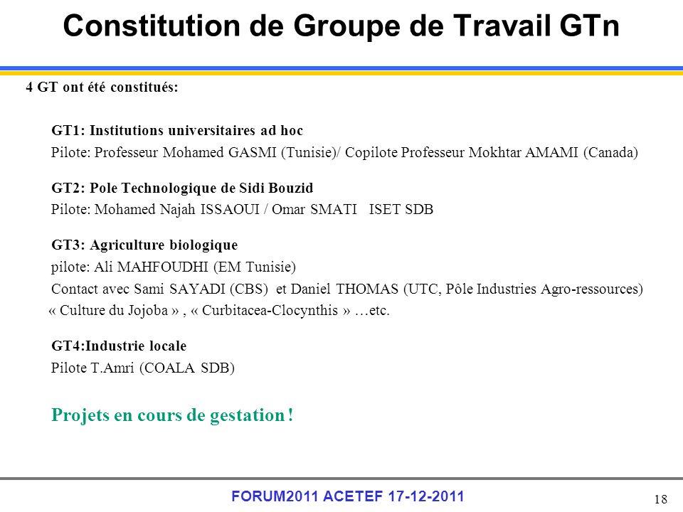 18 FORUM2011 ACETEF 17-12-2011 Constitution de Groupe de Travail GTn 4 GT ont été constitués: GT1: Institutions universitaires ad hoc Pilote: Professeur Mohamed GASMI (Tunisie)/ Copilote Professeur Mokhtar AMAMI (Canada) GT2: Pole Technologique de Sidi Bouzid Pilote: Mohamed Najah ISSAOUI / Omar SMATI ISET SDB GT3: Agriculture biologique pilote: Ali MAHFOUDHI (EM Tunisie) Contact avec Sami SAYADI (CBS) et Daniel THOMAS (UTC, Pôle Industries Agro-ressources) « Culture du Jojoba », « Curbitacea-Clocynthis » …etc.