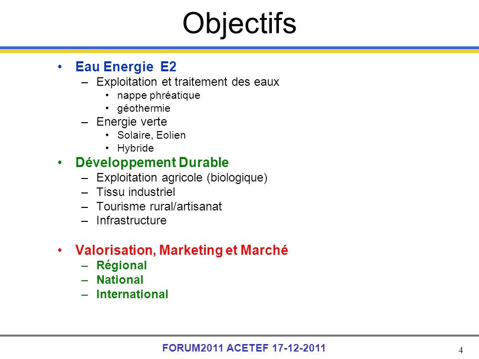 4 FORUM2011 ACETEF 17-12-2011 Objectifs Eau Energie E2 –Exploitation et traitement des eaux nappe phréatique géothermie –Energie verte Solaire, Eolien