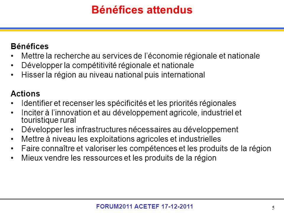 5 FORUM2011 ACETEF 17-12-2011 Bénéfices attendus Bénéfices Mettre la recherche au services de léconomie régionale et nationale Développer la compétiti