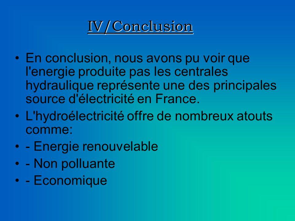 IV/Conclusion En conclusion, nous avons pu voir que l energie produite pas les centrales hydraulique représente une des principales source d électricité en France.
