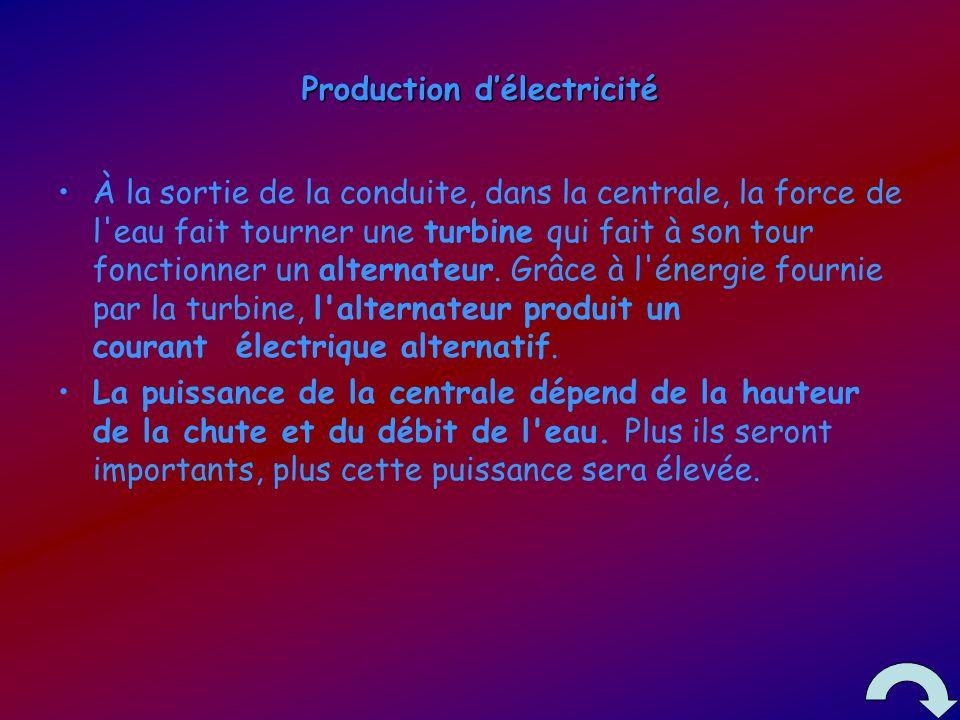 Production délectricité À la sortie de la conduite, dans la centrale, la force de l eau fait tourner une turbine qui fait à son tour fonctionner un alternateur.