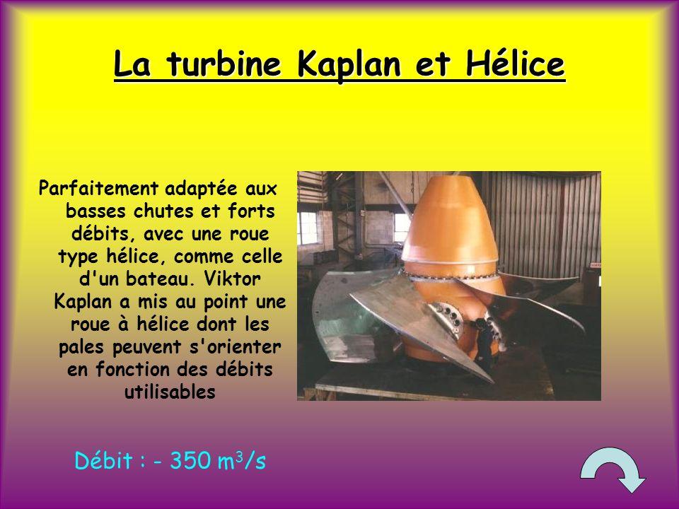 La turbine Kaplan et Hélice Parfaitement adaptée aux basses chutes et forts débits, avec une roue type hélice, comme celle d un bateau.