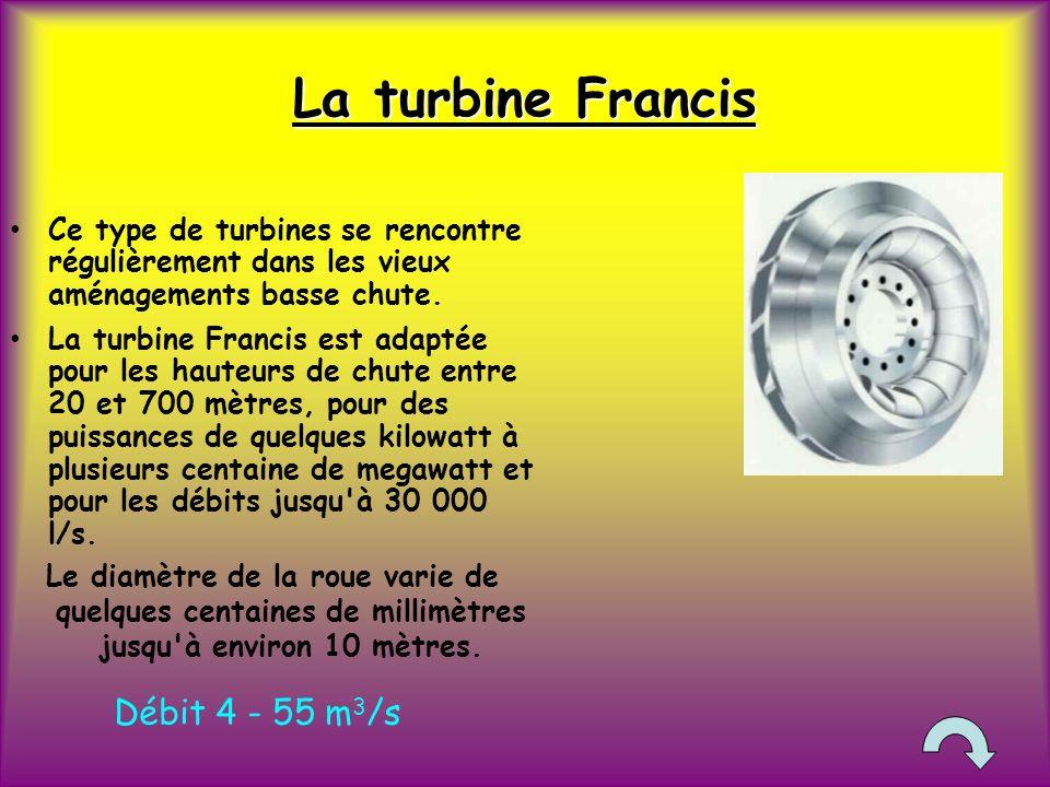 La turbine Francis Ce type de turbines se rencontre régulièrement dans les vieux aménagements basse chute.