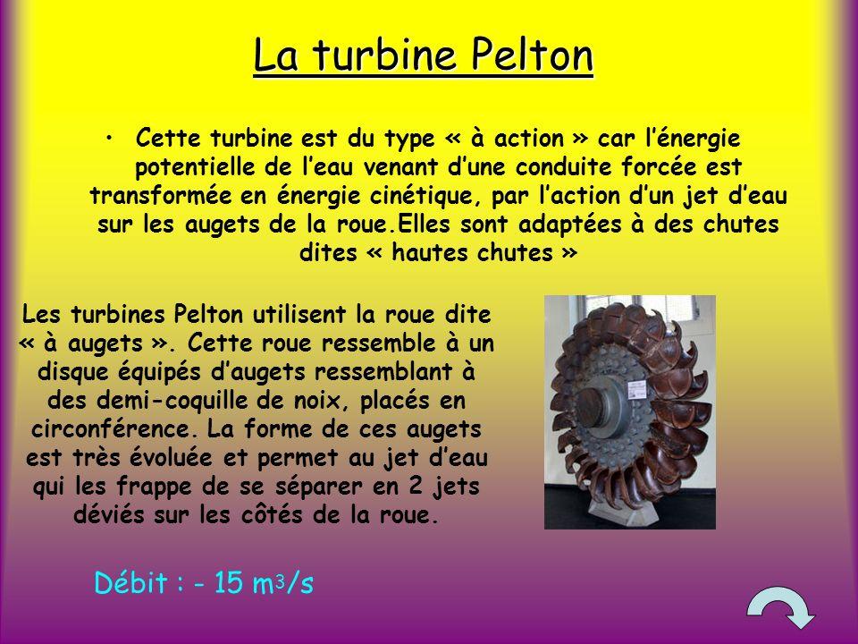 La turbine Pelton Cette turbine est du type « à action » car lénergie potentielle de leau venant dune conduite forcée est transformée en énergie cinétique, par laction dun jet deau sur les augets de la roue.Elles sont adaptées à des chutes dites « hautes chutes » Les turbines Pelton utilisent la roue dite « à augets ».
