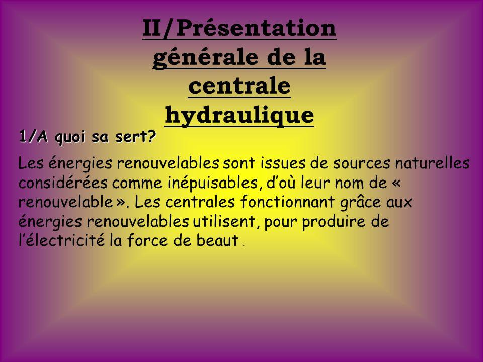 II/Présentation générale de la centrale hydraulique 1/A quoi sa sert.