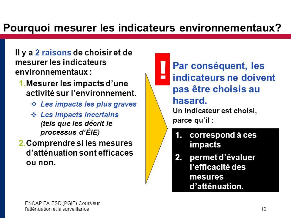 ENCAP EA-ESD (PGIE) Cours sur l'atténuation et la surveillance10 Pourquoi mesurer les indicateurs environnementaux? 1.correspond à ces impacts 2.perme