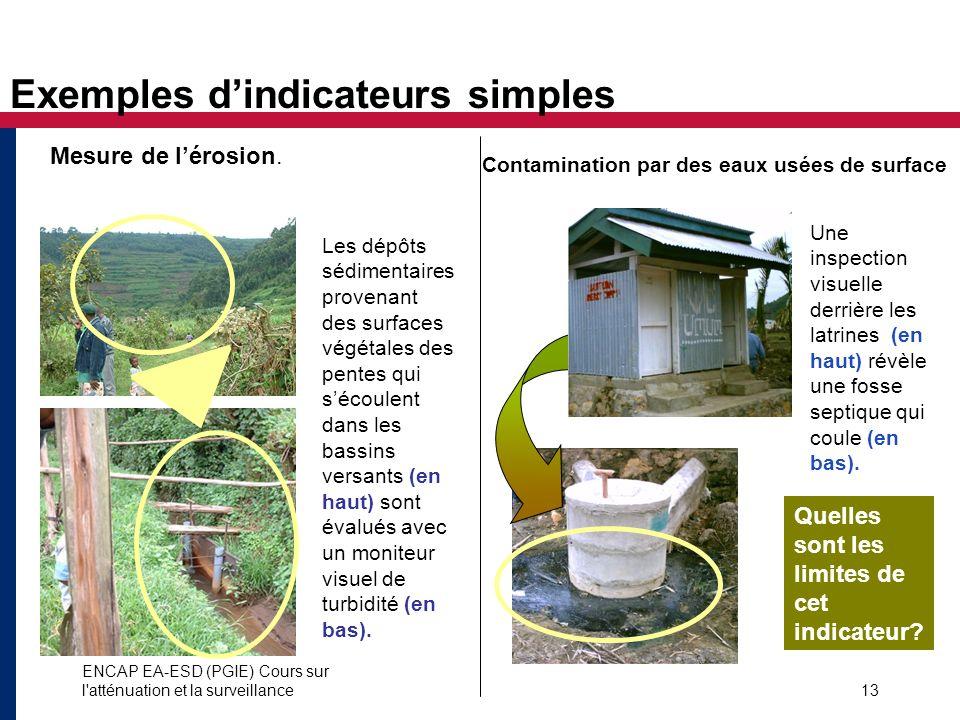 ENCAP EA-ESD (PGIE) Cours sur l'atténuation et la surveillance13 Exemples dindicateurs simples Les dépôts sédimentaires provenant des surfaces végétal