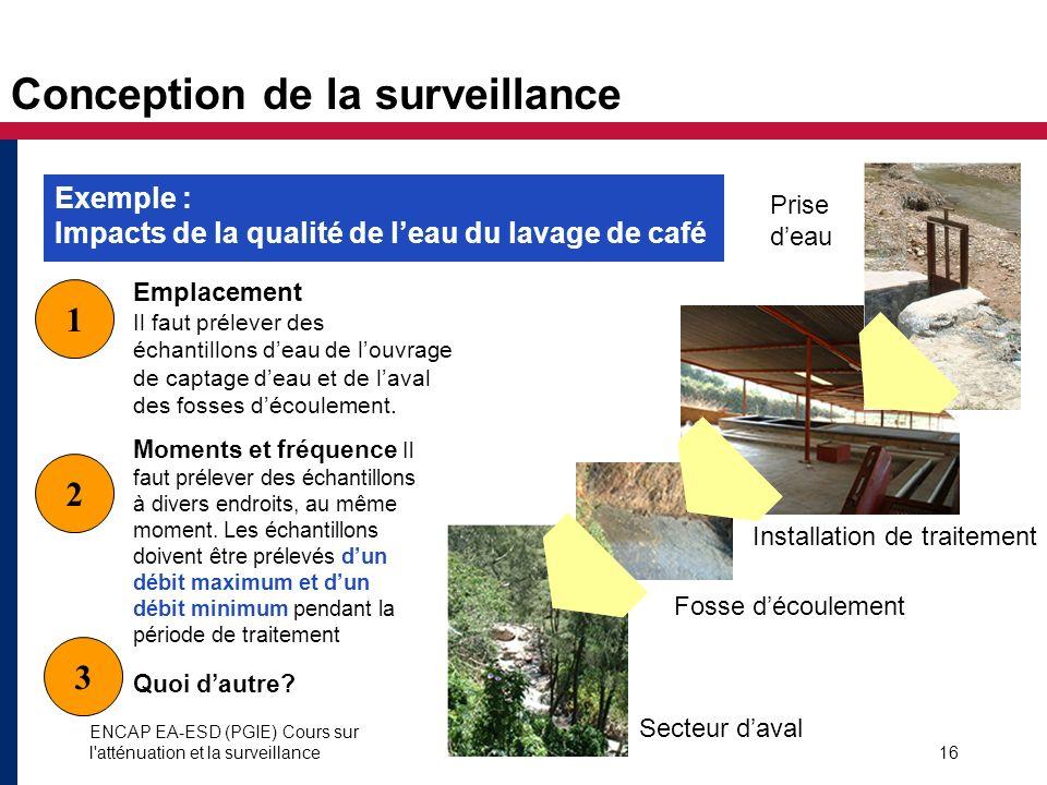 ENCAP EA-ESD (PGIE) Cours sur l'atténuation et la surveillance16 Conception de la surveillance 1 2 Moments et fréquence Il faut prélever des échantill