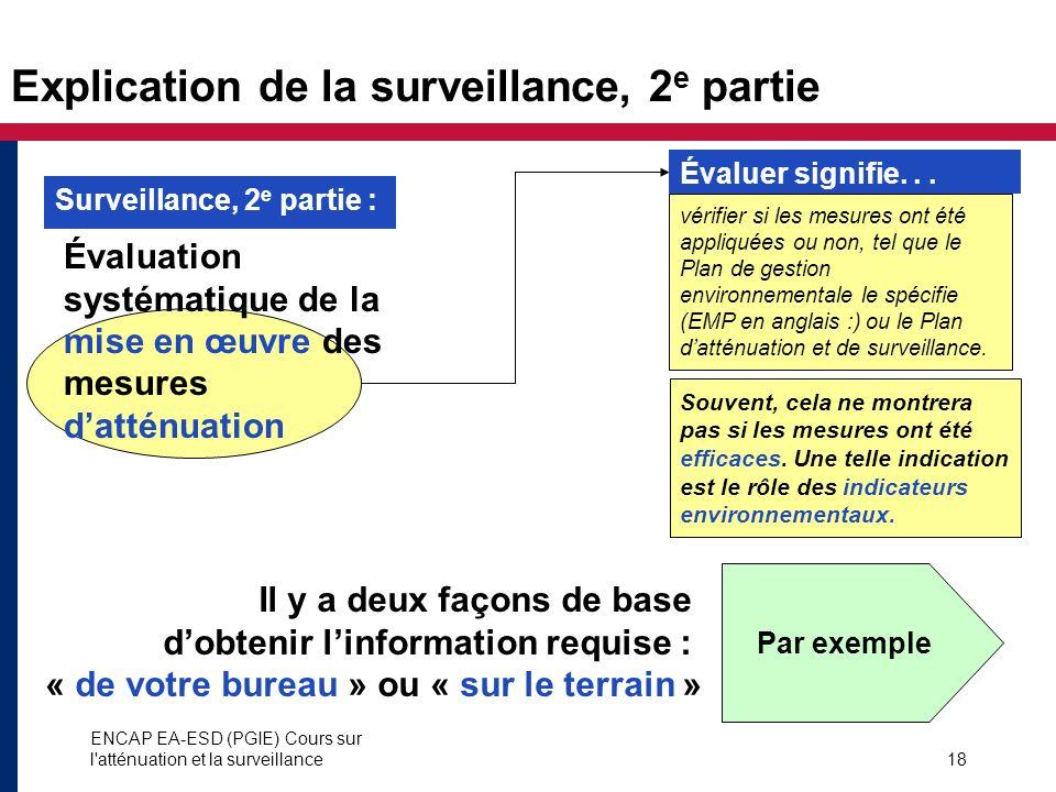 ENCAP EA-ESD (PGIE) Cours sur l'atténuation et la surveillance18 Explication de la surveillance, 2 e partie Évaluation systématique de la mise en œuvr