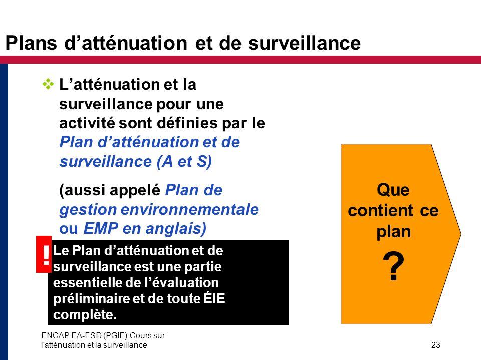 ENCAP EA-ESD (PGIE) Cours sur l'atténuation et la surveillance23 Plans datténuation et de surveillance Latténuation et la surveillance pour une activi