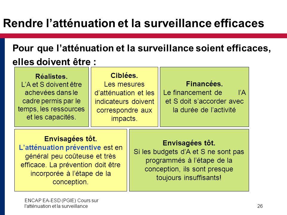 ENCAP EA-ESD (PGIE) Cours sur l'atténuation et la surveillance26 Rendre latténuation et la surveillance efficaces Pour que latténuation et la surveill